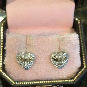 Vintage Juicy Couture Pave Heart Earrings IOB!